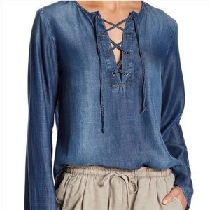 Bella Dahl chambray lace up tencel shirt medium